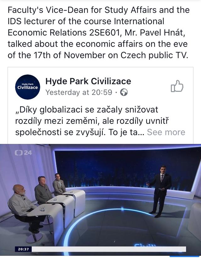 IDS Lecturer on Czech public TV