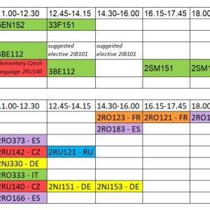 1st-sem Bachelor's student classes' schedule.